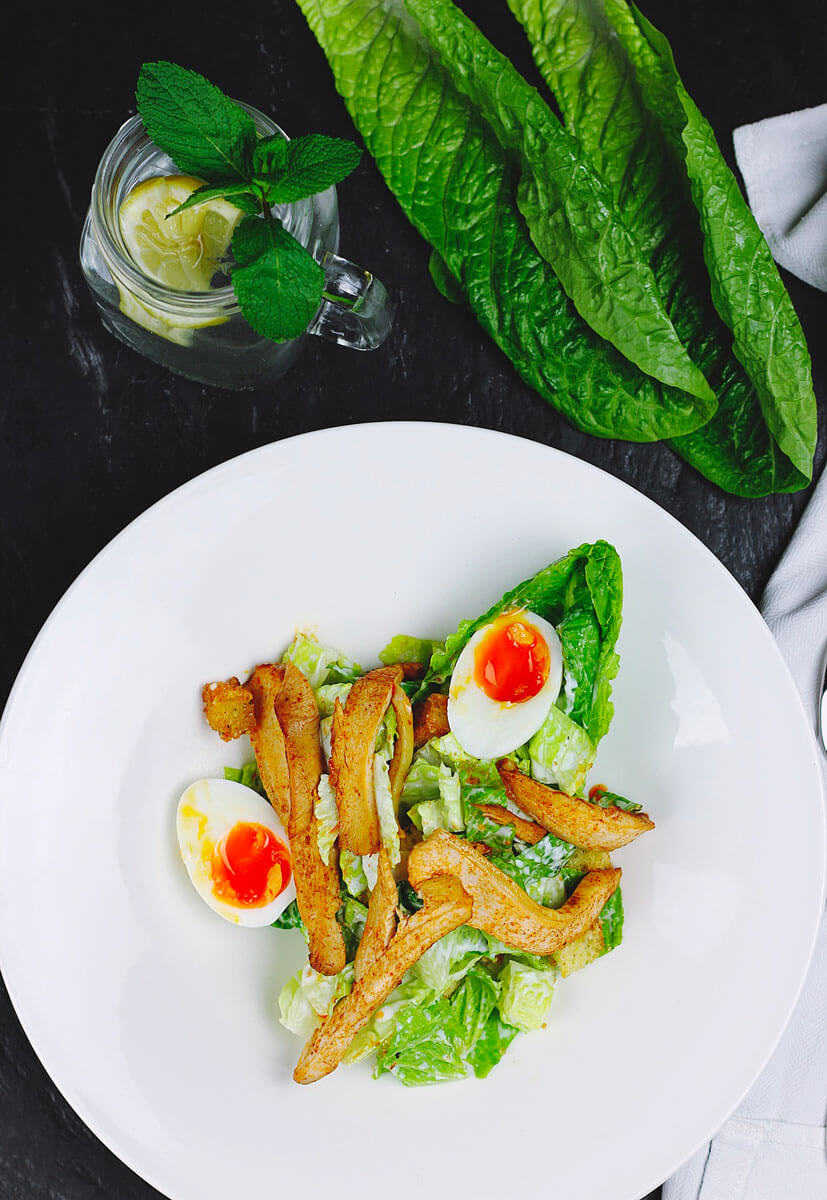 green spinach with boiled egg salad